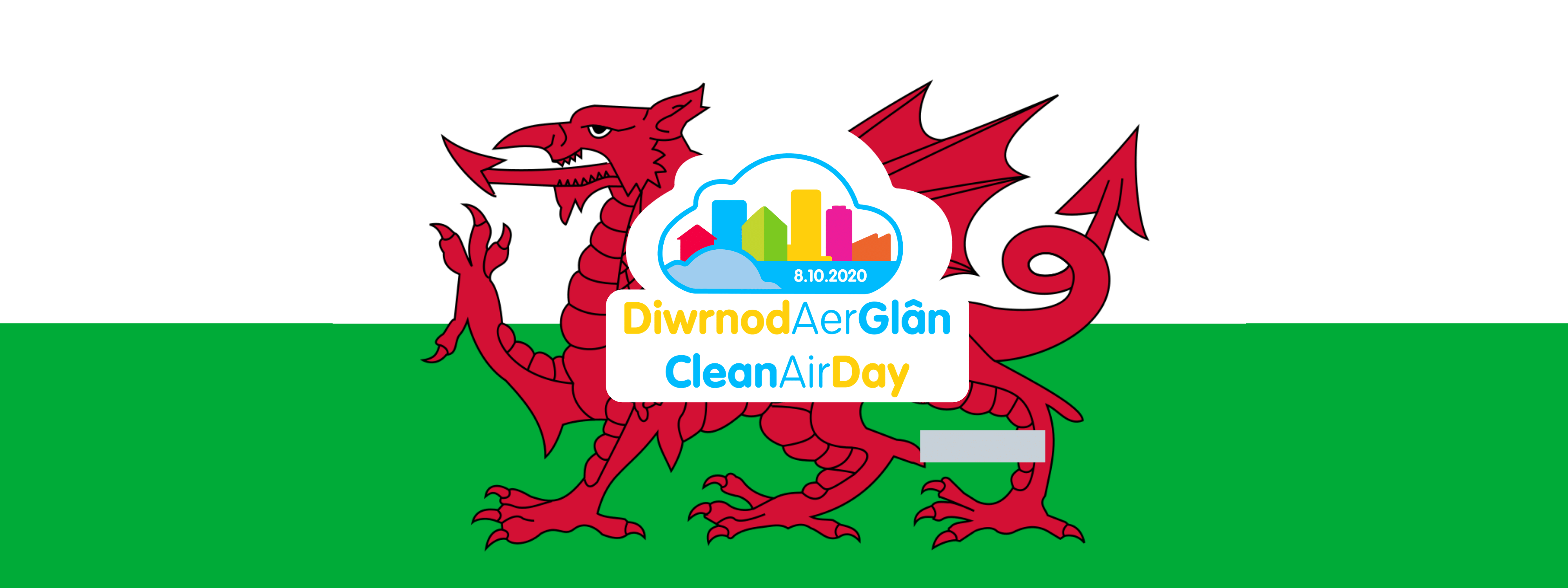 Clean Air Day Wales logo on a background of the Welsh flag