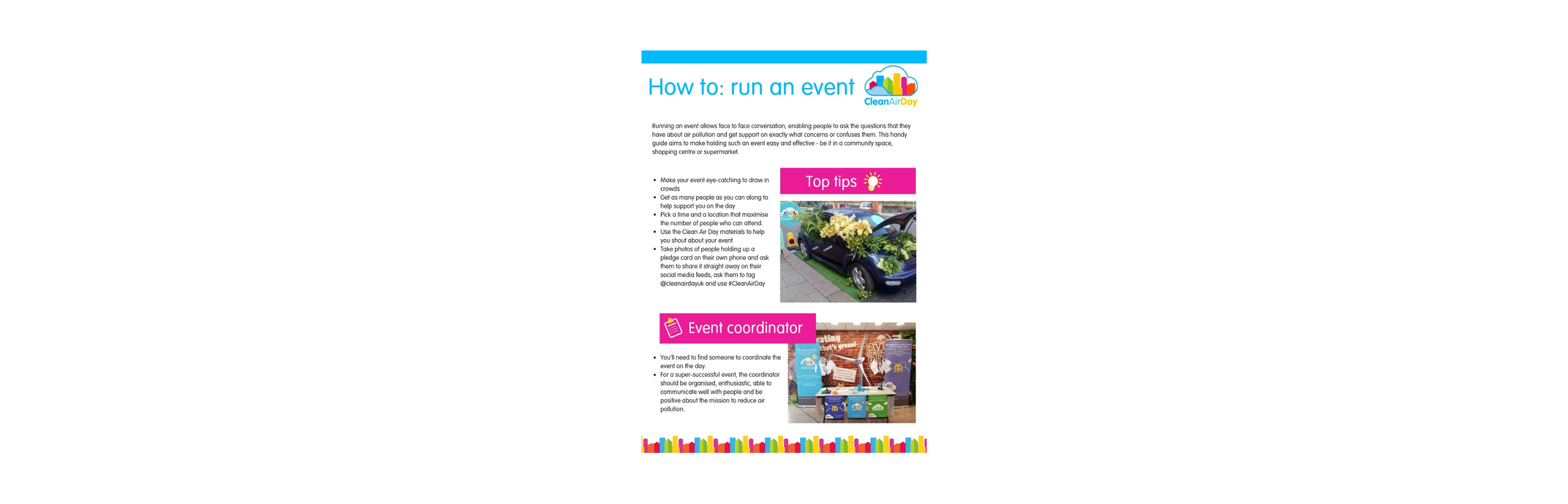 A thumbnail of the how to: run an event guide. It includes top tips and a section on event coordinators.
