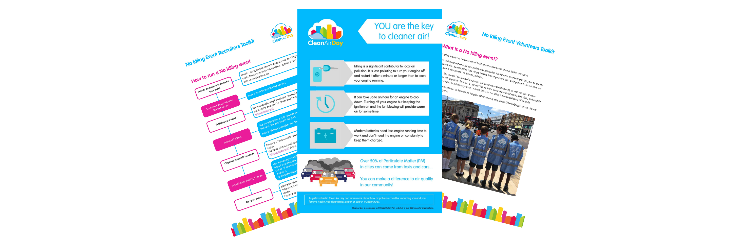 A thumbnail of the how to: run a no-idling event guide. It includes a flyer, a guides for organisers and participants