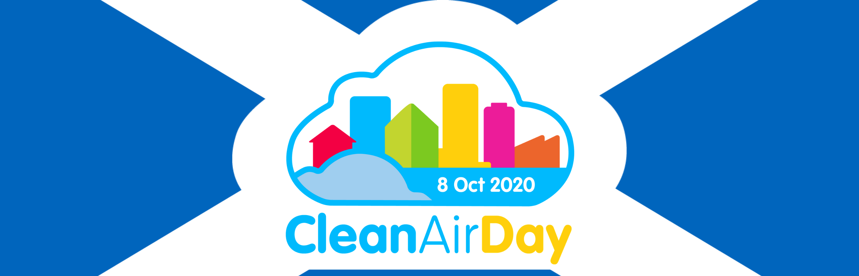 Clean Air Day 2020 logo on the background of a scottish flag